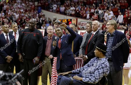 Former Indiana basketball player Isiah Thomas during halftime of an NCAA college basketball game between Indiana and North Carolina, in Bloomington, Ind. Indiana defeated North Carolina 76-67