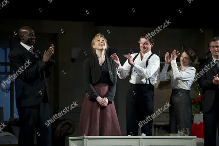 'A Doll's House' Press Night at Duke of York's Theatre and After Party at the Hospital Club Endell Street Curtain Call - Steve Toussaint Hattie Morahan Dominic Rowan and Caroline Martin