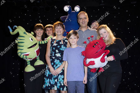 Stock Image of 'Aliens Love Underpants' Tea Party at Leicester Square Theatre Authors Claire Freedman and Ben Cort with His Son Johnny