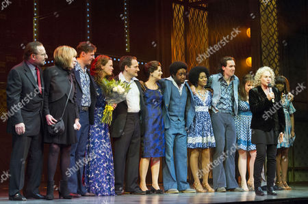 'Beautiful-the Carole King Musical' Press Night at the Aldwych Theatre and Afterparty at Somerset House Curtain Call - Carole King; Barry Mann and Cynthia Weil Surprise the Cast - Katie Brayben (carole) Ian Mcintosh (barry) Alan Morrissey (gerry Goffin) and Lorna Want (cynthia) by Appearing On Stage During the Curtain Call