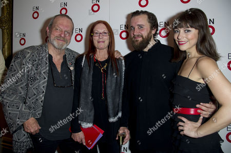'Benvenuto Cellini' First Night with the English National Opera at the London Coliseum Charing Cross Terry Gilliam with His Wife Maggie Weston and the Stars of the Show Michael Spyres and Corinne Winters