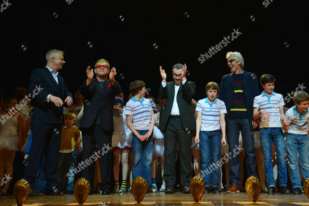 'Billy Elliot' Final Performance at the Victoria Palace Theatre Stephen Daldry Elton John Lee Hall and Julian Webber with the Billy Elliot's Thomas Hazelby Euan Garrett Nat Sweeney and Brodie Donougher