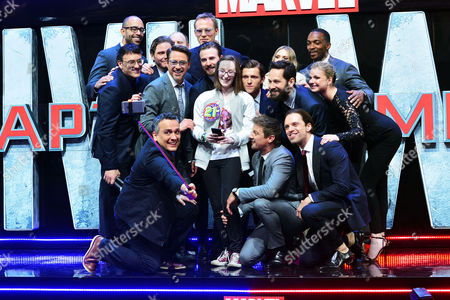 'Captain America Civil War' European Premiere at Westfield Shepherds Bush Cast and Creatives On Stage - Chris Evans Robert Downey Jr Sebastian Stan Anthony Mackie Jeremy Renner Paul Bettany Elizabeth Olsen Paul Rudd Tom Holland Emily Vancamp Daniel Bruhl and Directors Anthony Russo and Joe Russo with Lottie French From Essex Who Was Chosen to Make A Selfie with the Cast