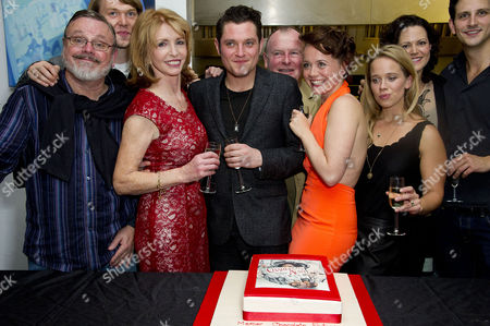 'Charley's Aunt' Press Night After Party at Menier Chocolate Factory London Bridge Cast : Norman Pace Jane Asher (who Baked the Cake) Benjamin Askew Director Ian Talbot Mathew Horne Charlie Clemmow Ellie Beaven and Leah Whitaker