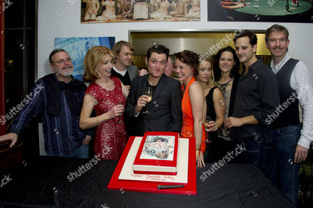 'Charley's Aunt' Press Night After Party at Menier Chocolate Factory London Bridge Cast : Norman Pace Jane Asher (who Baked the Cake) Benjamin Askew Director Ian Talbot Mathew Horne Charlie Clemmow Ellie Beaven Leah Whitaker Dominic Tighe and Steven Pacey