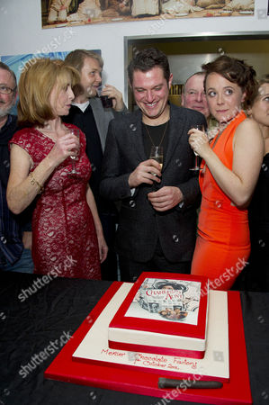'Charley's Aunt' Press Night After Party at Menier Chocolate Factory London Bridge Cast : Jane Asher (who Baked the Cake) Mathew Horne and Charlie Clemmow