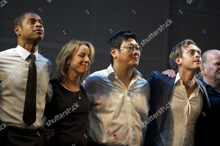 'Chimerica' Press Night at the Harold Pinter Theatre and After Party at Grace Great Windmill Street Curtain Call - Karl Collins Claudie Blakley Benedict Wong and Stephen Campbell Moore