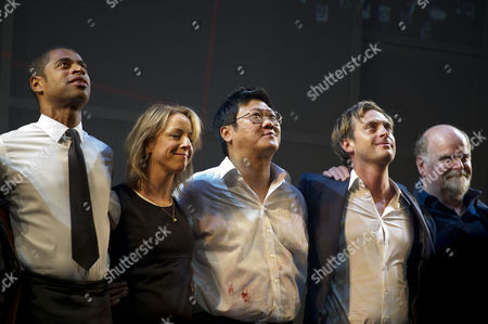 'Chimerica' Press Night at the Harold Pinter Theatre and After Party at Grace Great Windmill Street Curtain Call - Karl Collins Claudie Blakley Benedict Wong Stephen Campbell Moore and Trevor Cooper
