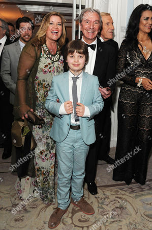 'Dirty Rotten Scoundrels' Press Night After Party at the Savoy Hotel Des O'connor with His Wife Jodie Brooke Wilson and Their Son Adam