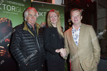 'Doktor Glas' Press Night at Wyndhams Theatre and After Party at Cafe Koha Henning Mankell (author Wallander) Nicola Clase (swedish Ambassador in London) and Krister Henriksson