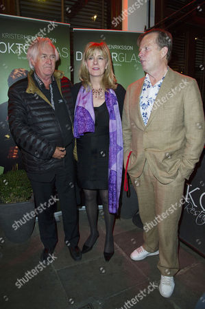 'Doktor Glas' Press Night at Wyndhams Theatre and After Party at Cafe Koha Henning Mankell (author Wallander) Victoria Jeffrey (producer) and Krister Henriksson