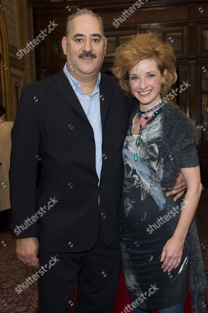 'East is East' Press Night Afterparty at Royal Horseguards Hotel Whitehall Ayub Khan Din (writer and Co-star) with Jane Horrocks