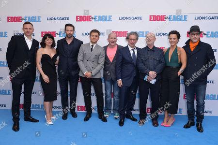 'Eddie the Eagle' European Premiere at Odeon Leicester Square Jo Hartley Hugh Jackman Dexter Fletcher Taron Egerton Keith Allen and Ania Sowinski with Matthew Vaughn