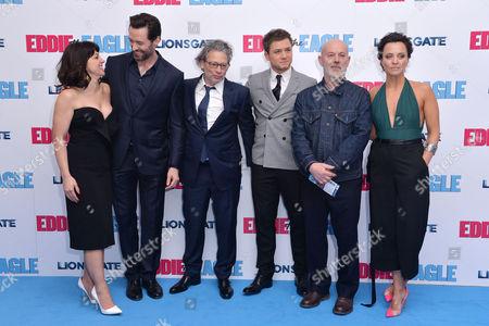 'Eddie the Eagle' European Premiere at Odeon Leicester Square Jo Hartley Hugh Jackman Dexter Fletcher Taron Egerton Keith Allen and Ania Sowinski