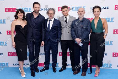 Stock Photo of 'Eddie the Eagle' European Premiere at Odeon Leicester Square Jo Hartley Hugh Jackman Dexter Fletcher Taron Egerton Keith Allen and Ania Sowinski