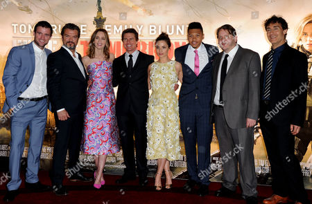 'Edge of Tomorrow' First of Three World Premieres in One Day Starting at the Imax Waterloo Jonas Armstong Dragomir Mrsic Emily Blunt Tom Cruise Charlotte Riley Franz Drameh Tony Way and Doug Liman