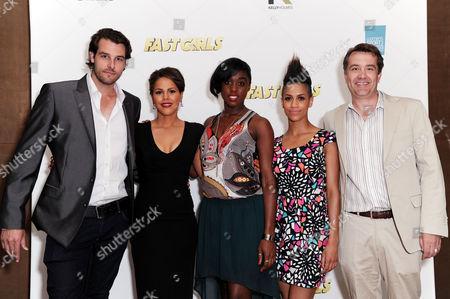 'Fast Girls' Screening at the Mayfair Hotel Regan Hall Lenora Crichlow Lashana Lynch Dominique Tipper and Damian Jones