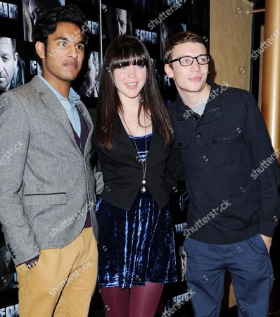 'Four' Uk Premiere at Empire Leicester Square Himesh Patel Rachel Bright and Charlie G Hawkins