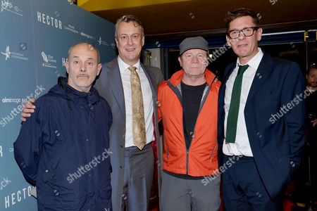 'Hector' Uk Premiere at the Cineworld Haymarket Keith Allen Stephen Tompkinson Ewan Stewart and Director Jake Gavin