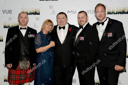 'Kajaki: the True Story' Premiere at the Vue Westend Jem and Bob Wright Parents of Dead Soldier Mark Wright with Stu Pearson Andy Barlow and Cameron Hystad (?)