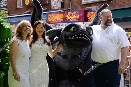 'How to Train Your Dragon 2' Uk Premiere at the Vue Leicester Square Cressida Cowell America Ferrera and Dean Deblois