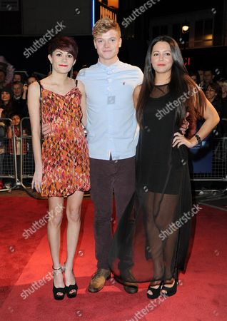 Stock Image of 'Hunky Dory' Red Carpet During the 55th Bfi London Film Festival at the Vue Leicester Square Dena Davies Tom Harries and Danielle Branch