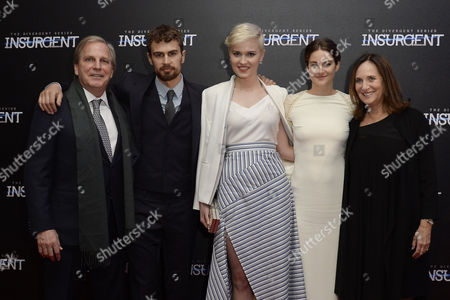 'Insurgent' Premiere at the Odeon Leicester Square Theo James; Veronica Roth and Shailene Woodley with Producers Lucy Fisher and Douglas Wick