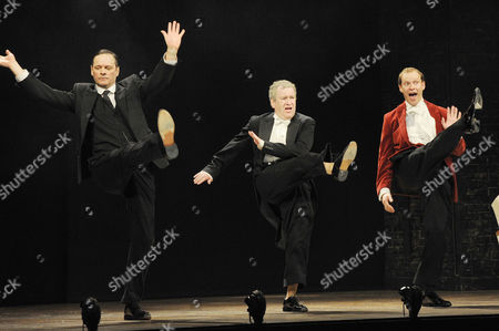 Stock Image of 'Jeeves and Wooster' Cast Change Press Night at the Duke of York's Theatre St Martin's Lane Curtain Call - Mark Heap Mark Hadfield and Robert Webb