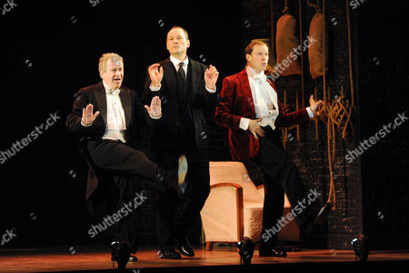'Jeeves and Wooster' Cast Change Press Night at the Duke of York's Theatre St Martin's Lane Curtain Call - Mark Hadfield Mark Heap and Robert Webb