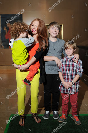 'Justin and the Knights of Valour' Uk Premiere at the Mayfair Hotel Natasha Hamilton with Her Sons Josh Harry and Alfie