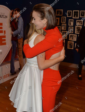 'Love Rosie' World Premiere at the Odeon West End Leicester Square London Lily Laight Hugs Lily Collins