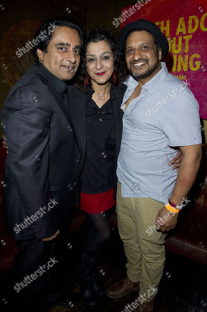 'Much Ado About Nothing' Royal Shakespeare Company Press Night Afterparty at Grace Great Windmill Street Meera Syal with Her Husband Sanjeev Bhaskar and Kulvinder Ghir