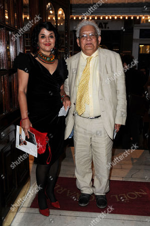 Stock Image of 'Much Ado About Nothing' Royal Shakespeare Company Press Night Arrivals at the Noel Coward Theatre St Martins Lane Lord Meghnad Desai with His Wife Kishwar Desai