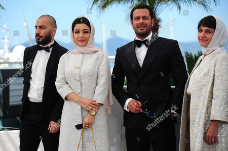 'Nahid' Photocall at the Palais Des Festivals During the 68th Cannes Film Festival Navid Mohammadzadeh Sareh Bayat Pejman Bazeghi and Director Ida Panahandeh