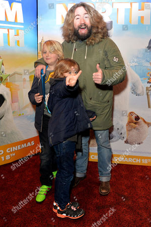 'Norm of the North' (out March18th 2016) Vip Screening at the Empire Leicester Square Justin Lee Collins with His Sons Archie and Harvey