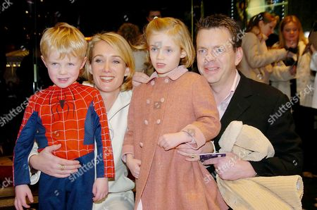 Stock Image of 'Peter Pan' Uk Premiere at the Empire Leicester Square and Afterparty in A Marquee On Embankment James and Anastasia Baker with Their Children