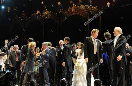 'Phantom of the Opera' 25th Anniversary Performance Curtain Call at the Royal Albert Hall Gillian Lynne Cameron Mackintosh Anthony Warlow Ramin Karimloo Michael Crawford and Colm Wilkinson