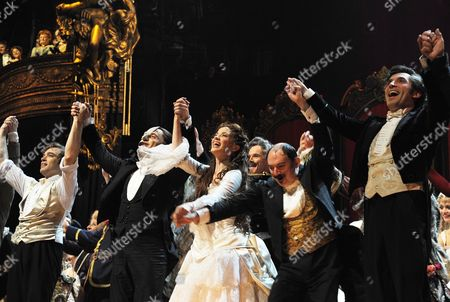 'Phantom of the Opera' 25th Anniversary Performance Curtain Call at the Royal Albert Hall Hadley Fraser Ramin Karimloo and Sierra Boggess Barry James Gareth Snook