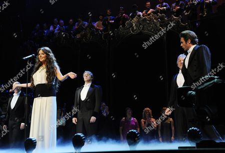 'Phantom of the Opera' 25th Anniversary Performance Curtain Call at the Royal Albert Hall Sarah Brightman Performs On Stage with 4 Actors That Have Played the Phantom (l-r) Anthony Warlow John Owen-jones Colm Wilkinson and Peter Joback