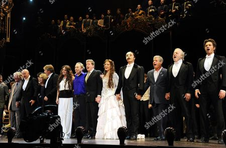 'Phantom of the Opera' 25th Anniversary Performance Curtain Call at the Royal Albert Hall Anthony Warlow Gillian Lynne John Owen-jones Sarah Brightman Andrew Lloyd Webber Michael Crawford Sierra Boggess Ramin Karimloo Cameron Mackintosh Colm Wilkinson and Peter Joback