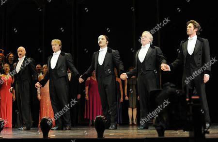 'Phantom of the Opera' 25th Anniversary Performance Curtain Call at the Royal Albert Hall 4 Actors That Have Played the Phantom (l-r) Anthony Warlow John Owen-jones Colm Wilkinson and Peter Joback and Ramin Karimloo