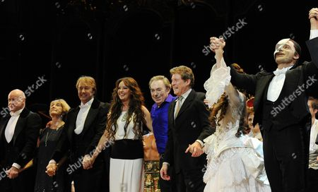 'Phantom of the Opera' 25th Anniversary Performance Curtain Call at the Royal Albert Hall Anthony Warlow Gillian Lynne John Owen-jones Sarah Brightman Andrew Lloyd Webber Michael Crawford Sierra Boggess Ramin Karimloo