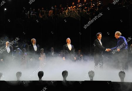 'Phantom of the Opera' 25th Anniversary Performance Curtain Call at the Royal Albert Hall 4 Actors That Have Played the Phantom (l-r) Anthony Warlow John Owen-jones Colm Wilkinson and Peter Joback with Andrew Lloyd Webber