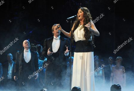'Phantom of the Opera' 25th Anniversary Performance Curtain Call at the Royal Albert Hall Sarah Brightman Performs On Stage with Anthony Warlow and John Owen-jones