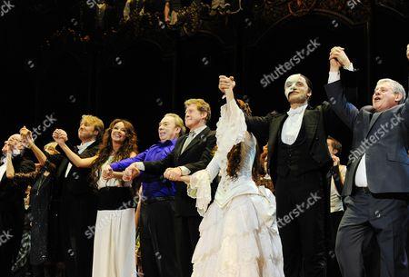 'Phantom of the Opera' 25th Anniversary Performance Curtain Call at the Royal Albert Hall John Owen-jones Sarah Brightman Andrew Lloyd Webber Michael Crawford Sierra Boggess Ramin Karimloo Cameron Mackintosh