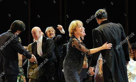 'Phantom of the Opera' 25th Anniversary Performance Curtain Call at the Royal Albert Hall Anthony Warlow John Owen-jones and Gillian Lynne