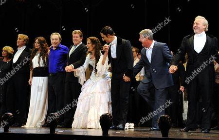 'Phantom of the Opera' 25th Anniversary Performance Curtain Call at the Royal Albert Hall Gillian Lynne John Owen-jones Sarah Brightman Andrew Lloyd Webber Michael Crawford Sierra Boggess Ramin Karimloo Cameron Mackintosh and Colm Wilkinson
