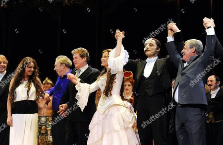 'Phantom of the Opera' 25th Anniversary Performance Curtain Call at the Royal Albert Hall Sarah Brightman Andrew Lloyd Webber Michael Crawford Sierra Boggess Ramin Karimloo and Cameron Mackintosh