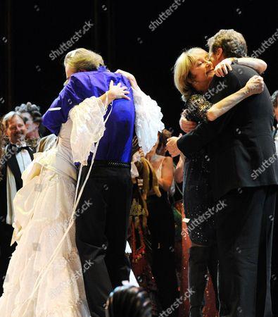 'Phantom of the Opera' 25th Anniversary Performance Curtain Call at the Royal Albert Hall Sierra Boggess Andrew Lloyd Webber Gillian Lynne and Cameron Mackintosh