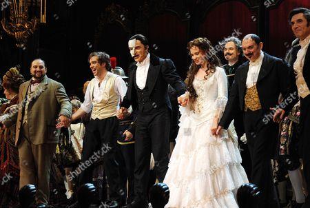 'Phantom of the Opera' 25th Anniversary Performance Curtain Call at the Royal Albert Hall Hadley Fraser Ramin Karimloo and Sierra Boggess Barry James